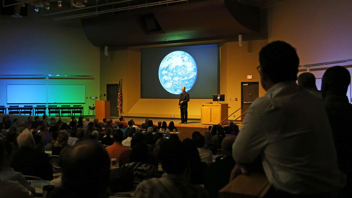 Keynote Speaker, Oceanographer Robert Ballard begins his keynote presentation.
