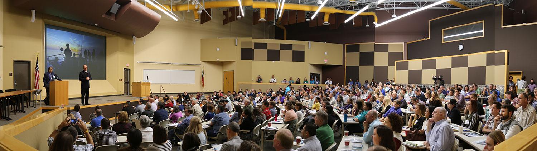 Panorama shot of Big Tex during Ballard's keynote.
