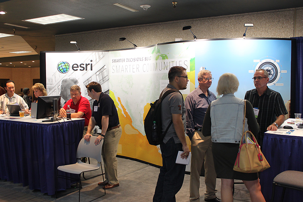 Lots of activity at ESRI's booth, a platinum sponsor.