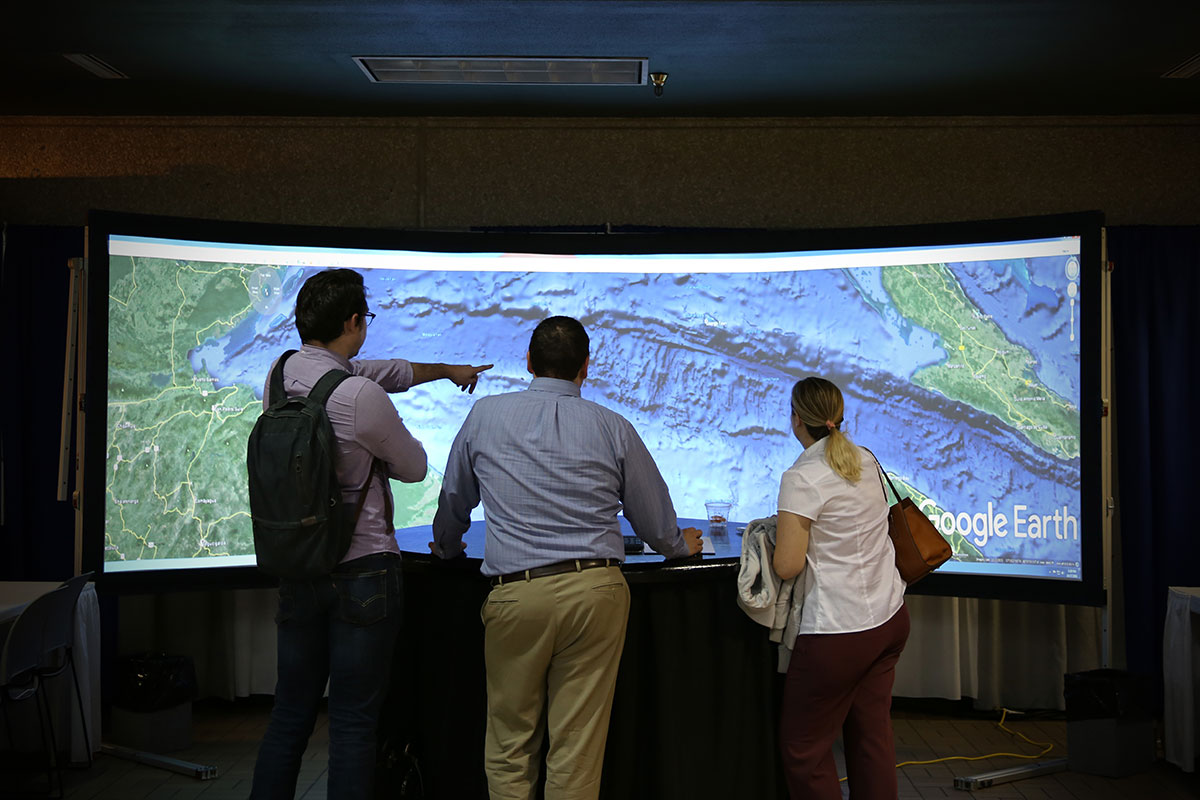 The Visual Texas Display allowed immersive navigation through 3-D landscapes displayed through Google Earth