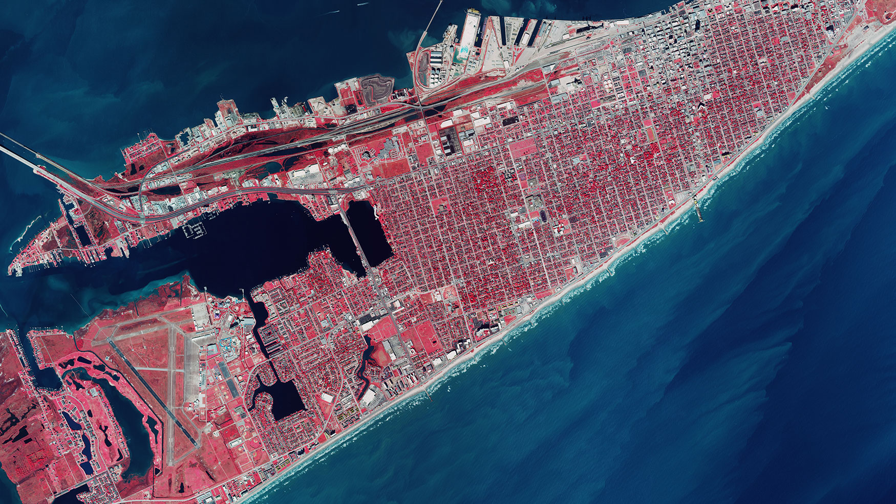 Color infra red of Galveston Island