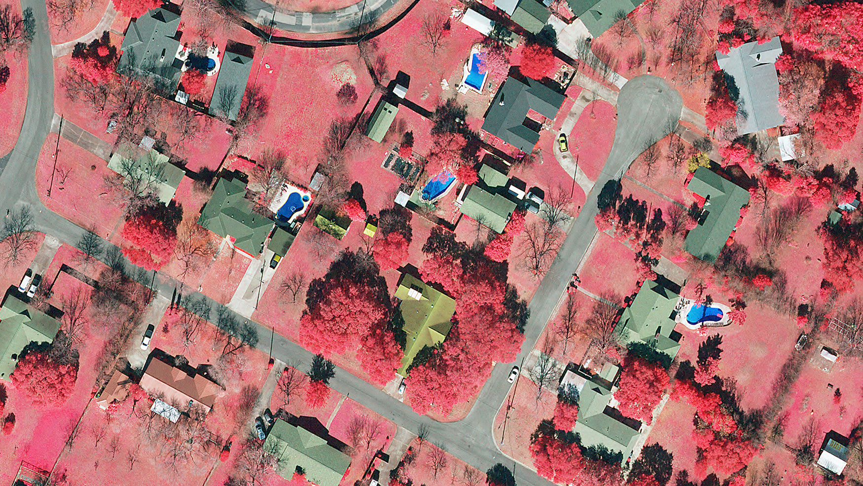 Color infra red of Austin Neighborhood
