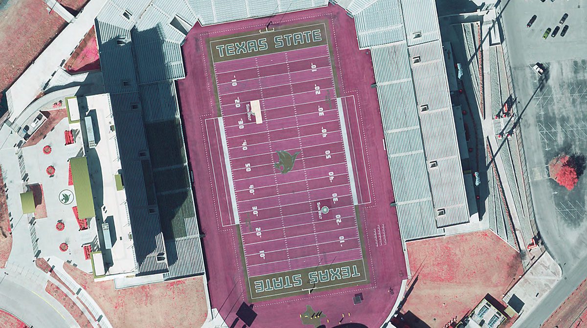Color infra red of Bobcat Stadium