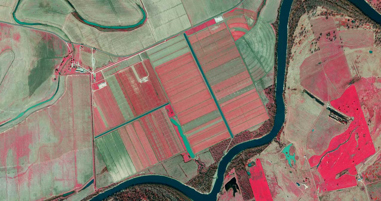 Infra Red preview of Agriculture along the Brazos River