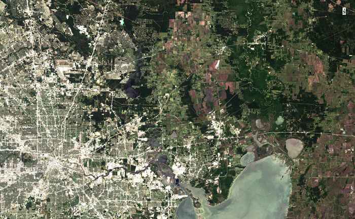Natural Color band of The City of Houston, Trinity River, and Trinity Bay