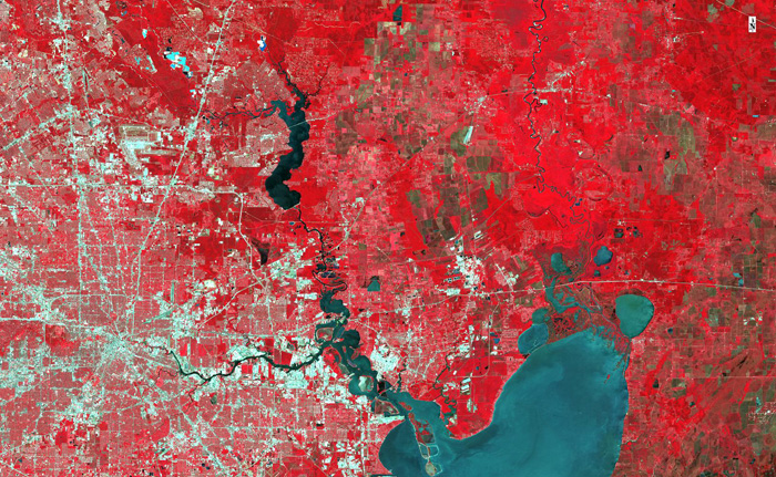 Infra Red band of The City of Houston, Trinity River, and Trinity Bay