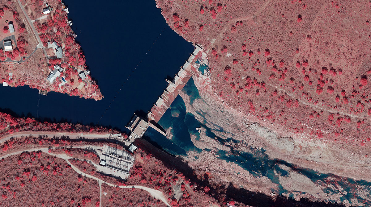Color infra red of Max Starke Dam
