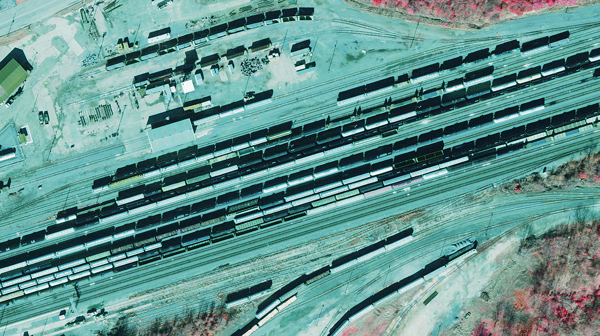 Color infra red of Rail Yard in Tyler