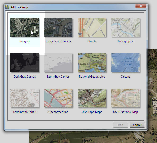 A screenshot of the add basemap options, with the imagery highlighted