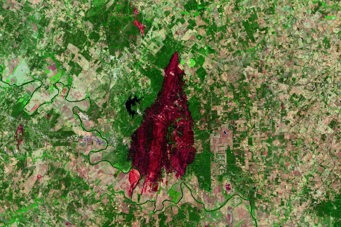 Landsat of Bastrop County Complex Wildfire Burn Scar