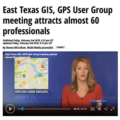 Nacogdoches local news features GIS community and TNRIS in broadcast.
