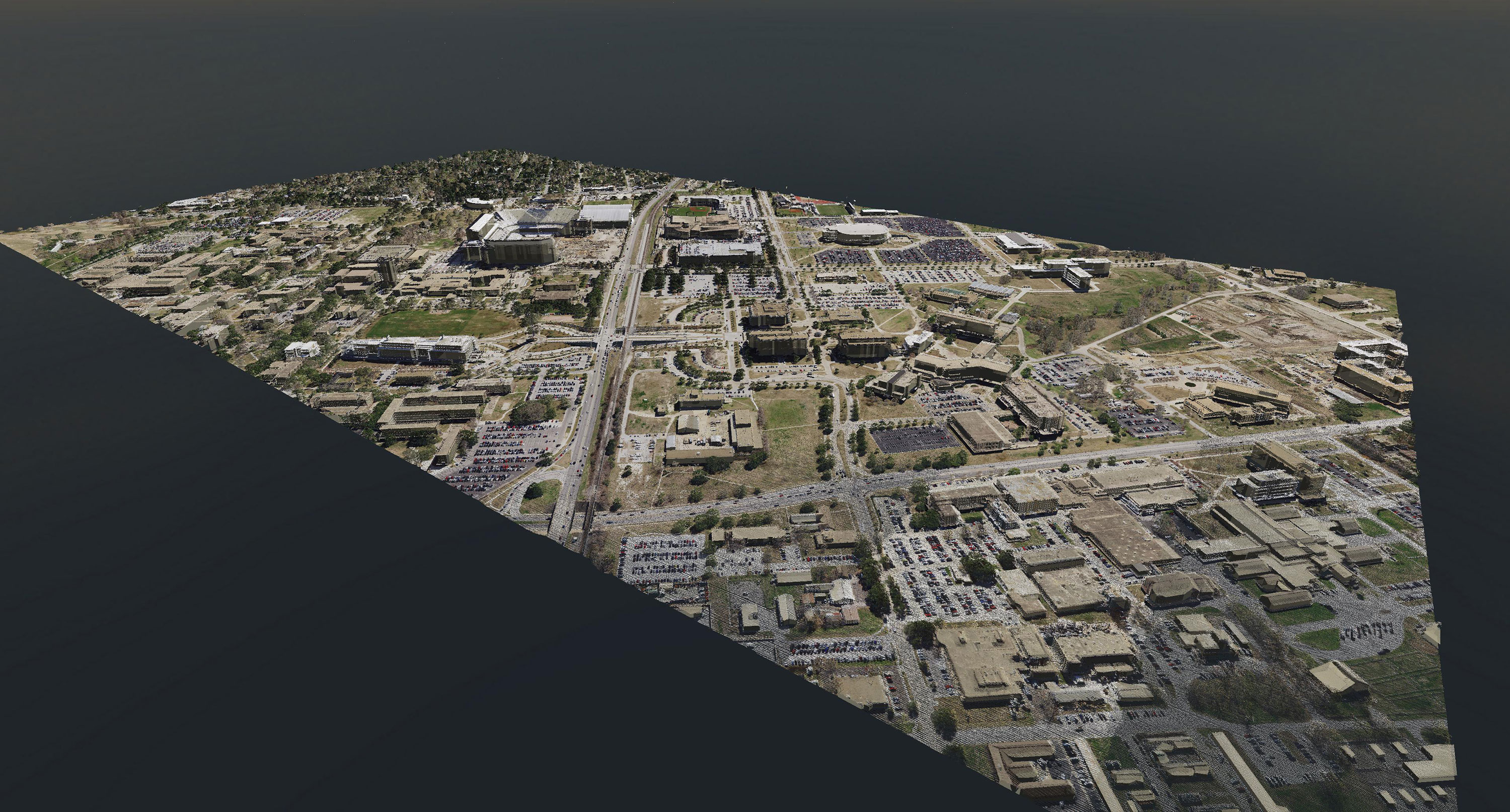 lidar 3-d render of buildings in College Station