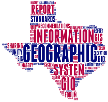 a word cloud of phrases about community and gis in texas