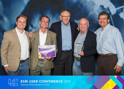 A photo of the GLO's GIS team with Jack Dangermond