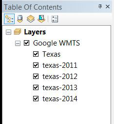 A view of the layers in ArcMap