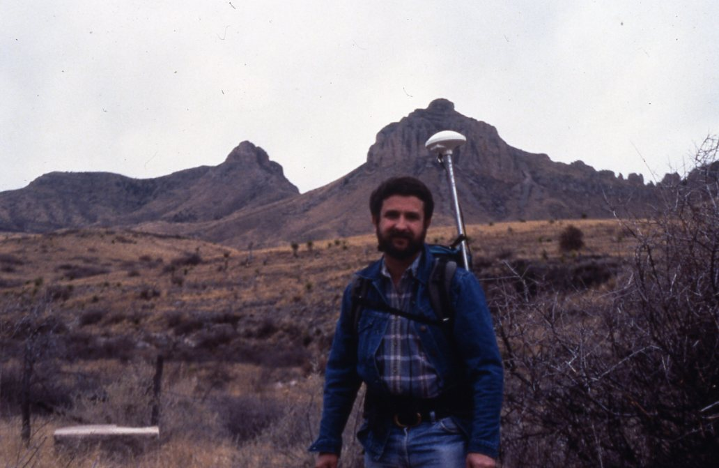 Kim in the field, 1993, with GPS backpack