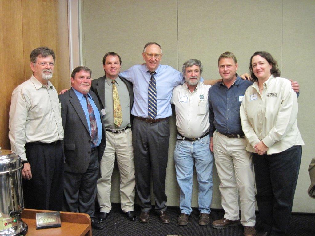 From left to right: Robert White, Bruce Barr, Mike Ouimet, Jack Dangermond, Kim Ludeke, Greg Smithhart, Claire DeVaughan