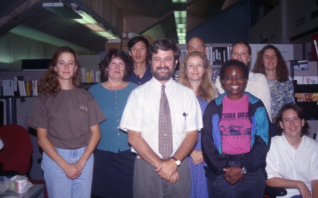 From left to right: Ali Baird, Joyce Gilliam, Dr. Changxiang Liu, Dr. Kim Ludeke, Vivian Ackerson, Duane German, Cynthia Banks, Christine Coates, Michelle Valek, Jennifer Estes - 1996