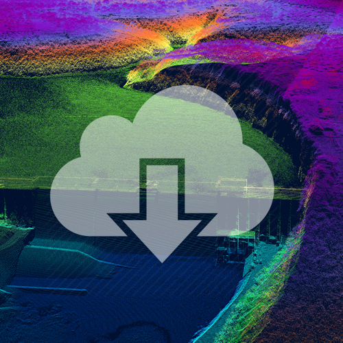 Image of 3-D Lidar with cloud download icon on top