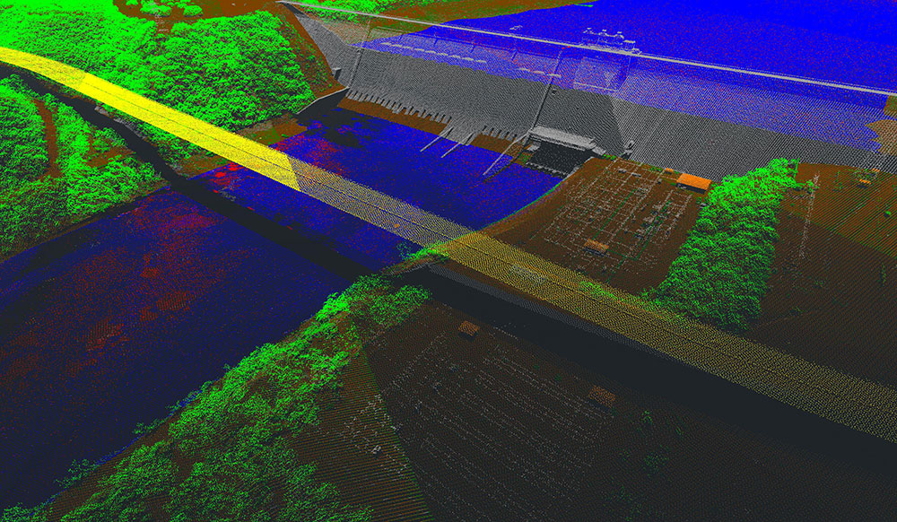 A point cloud of Mansfield Dam at Lake Travis