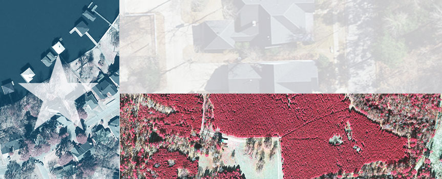 Aerial orthoimagery composed in the layout and colors of the Texas flag