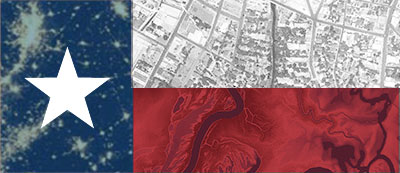 Texas flag superimposed with spatial data