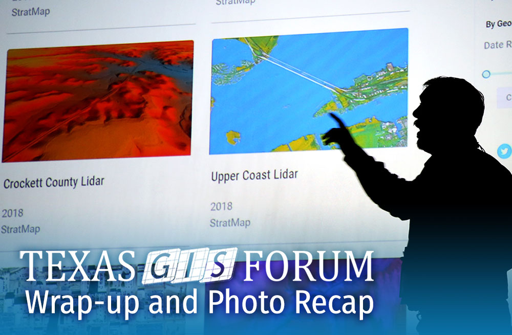Silohuette of speaker in front of screen, Texas GIS Forum Wrap-Up